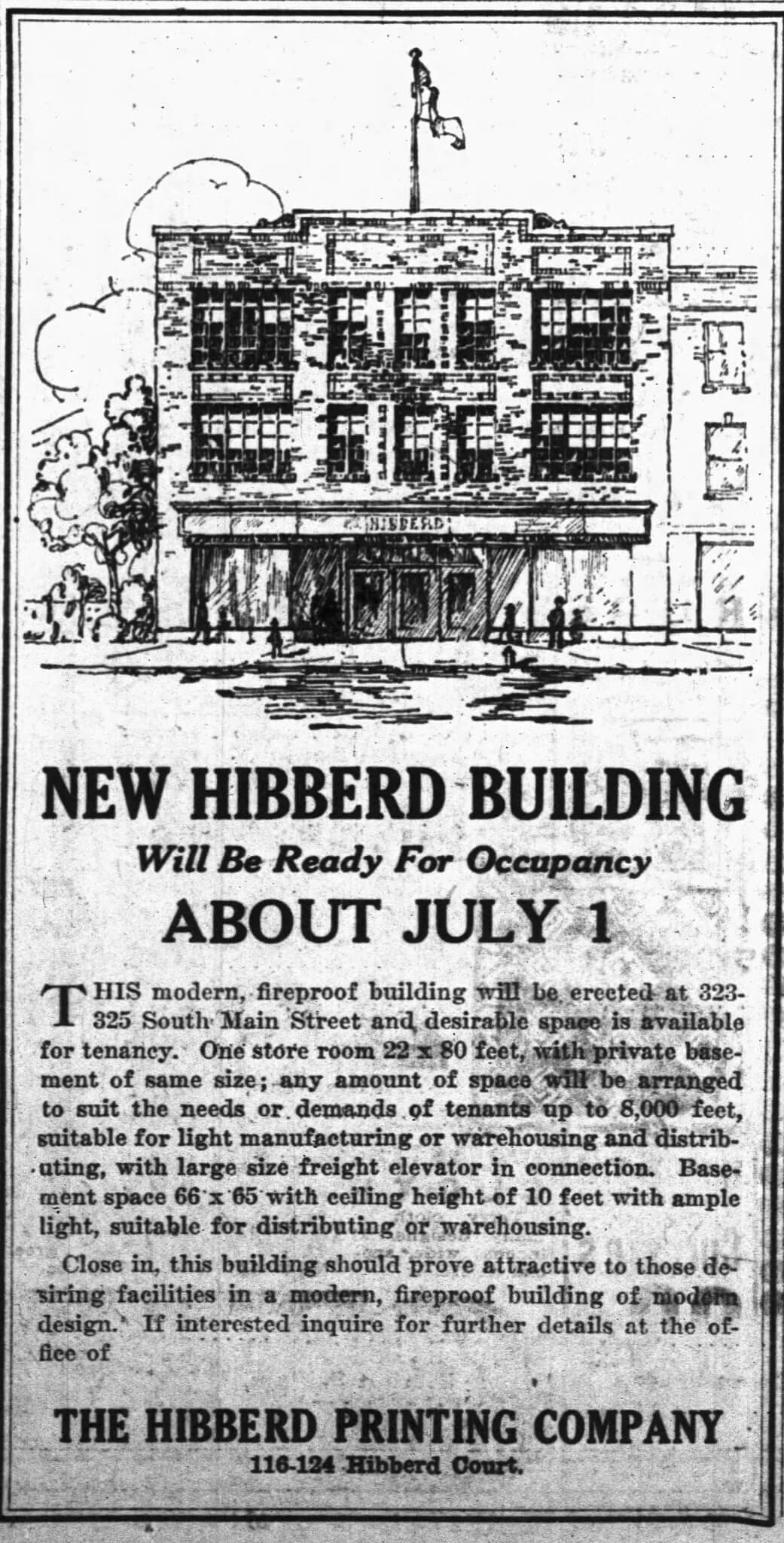 1926 South Bend Tribune advertisement searching for tenants to operate inside the new building alongside the printing company.