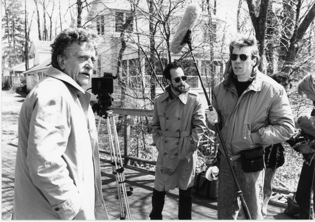 Kurt Vonnegut photographed with  Robert Weide  of  Whyaduck Productions  during the filming of  Kurt Vonnegut: Unstuck In Time . The Clemens Vonnegut Jr. House is visible in the background.