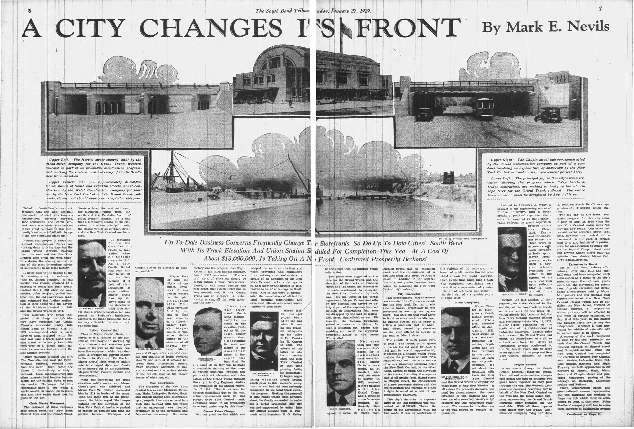 A scan of the South Bend Tribune's Sunday, January 29, 1929 paper featuring a 2-page spread by Mark E. Nevils detailing the track elevation program.