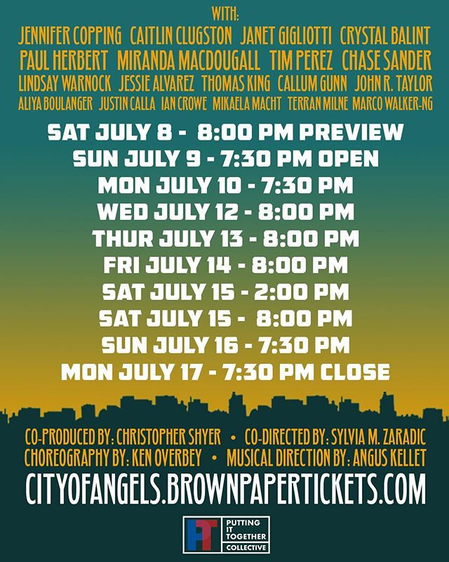 Here are the dates for @cityofangelsvancouver // Tickets are selling fast, so get them while they're hot! . . . #cityofangels #vancouver #vancity #yvr #van #theatre #stage #perform #performance #musical #broadway #granville #island #bc #art #show #dates #promo #event #flyer