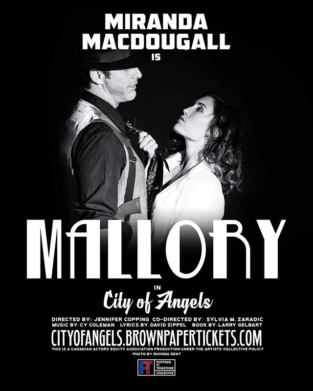 Our very own @miramac is MALLORY in @cityofangelsvancouver // Tix available at @brownpapertickets // Photo: @rhondadentphotography . . . #vancouver #granville #island #cityofangels #broadway #theatre #stage #performance #perform #act #actor #musical #poster #event #promo #vancity #yvr #yvrevents #potd #vancitybuzz #bw #bnw #blackandwhite