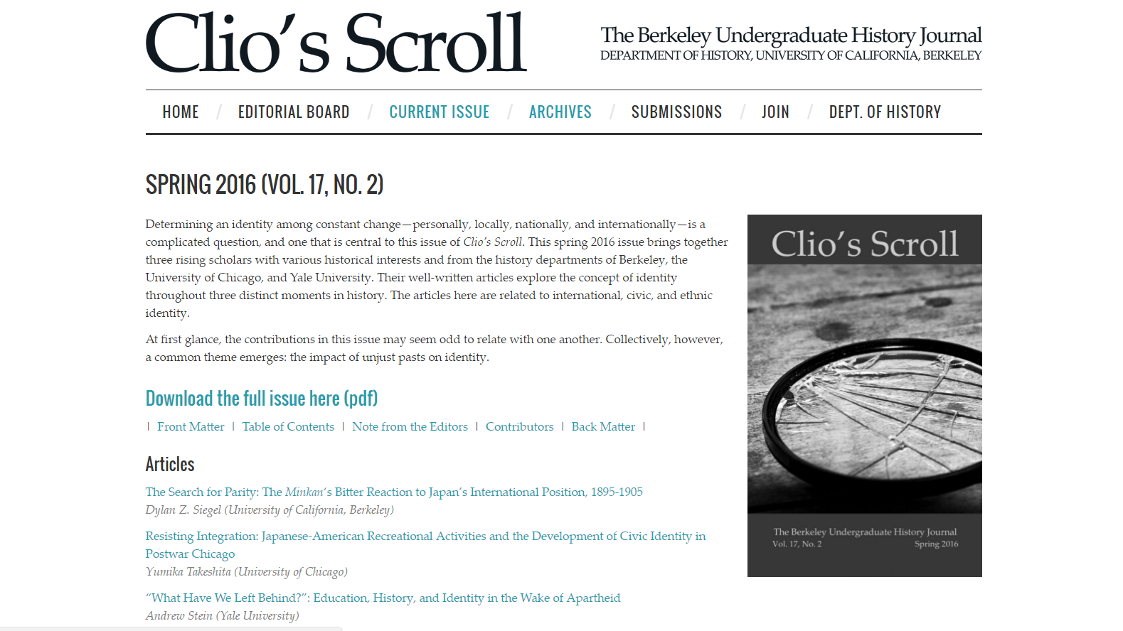 Clio's Scroll webpage