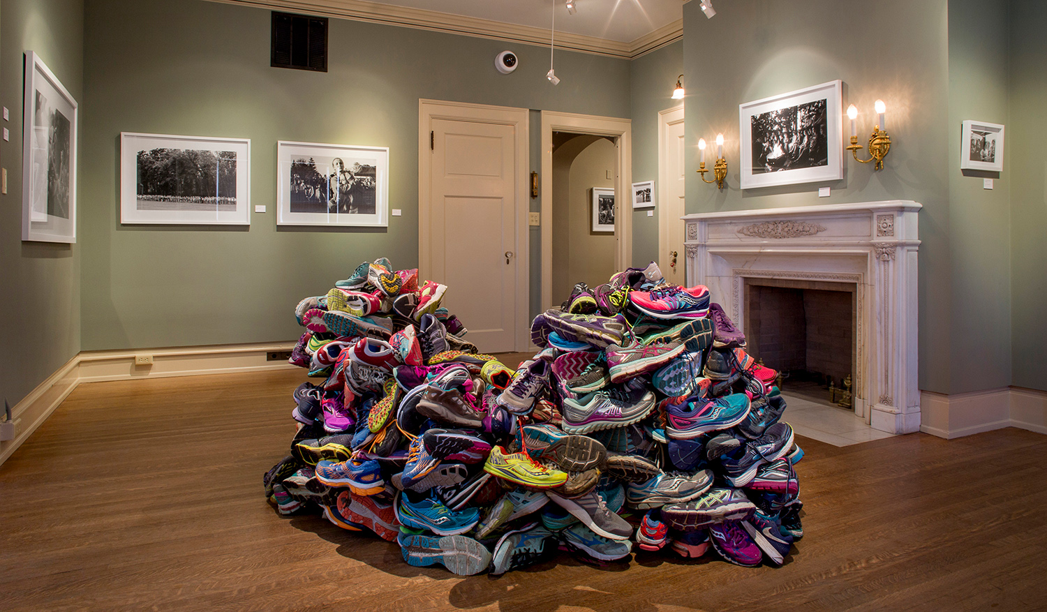 Covered Ground, (Two Hundred and Fourteen Running Shoes). 2017    All In: Shorewood Girls Cross Country  at Charles Allis Art Museum.