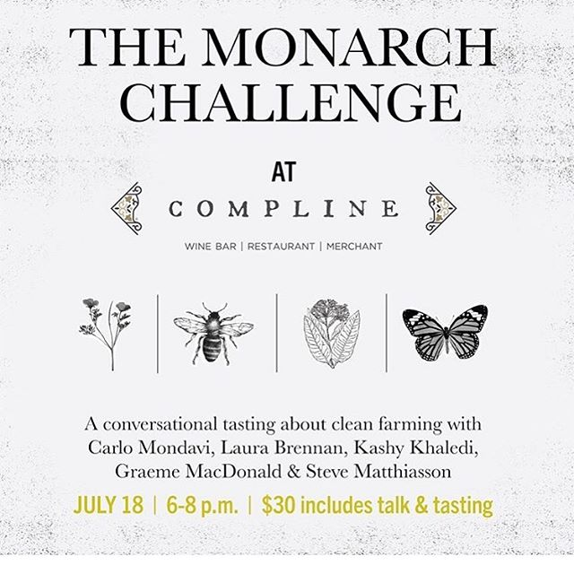 Very proud to partner with @complinewine for this Monarch Challenge fireside chat! Brava @carlomondavi @waihekemel @inconnuwine @ashesxdiamonds @matthiasson_wine @macdonaldvineyards @illfill for your passion and generous dedication to our mission! Join us: Thursday, July 18th (link in bio).