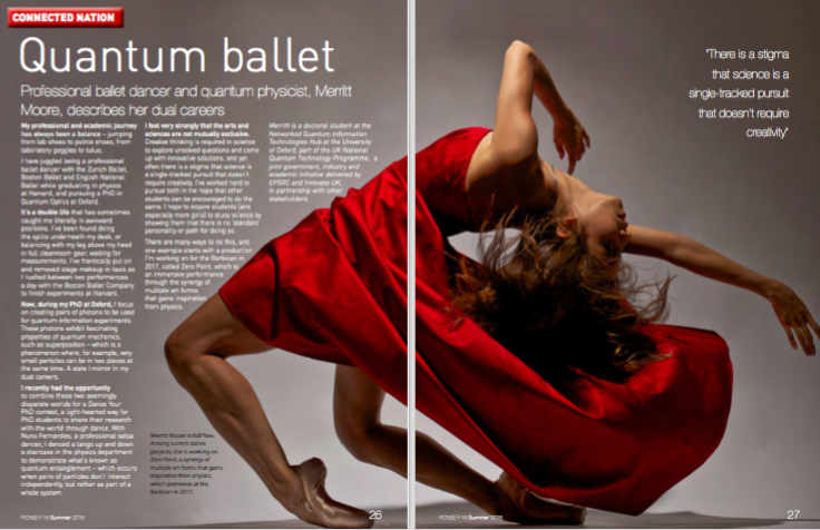 Article in EPSRC (Engineering and Physical Sciences Research Council) annual magazine about pursuing quantum optics physics PhD and professional ballet career 2015