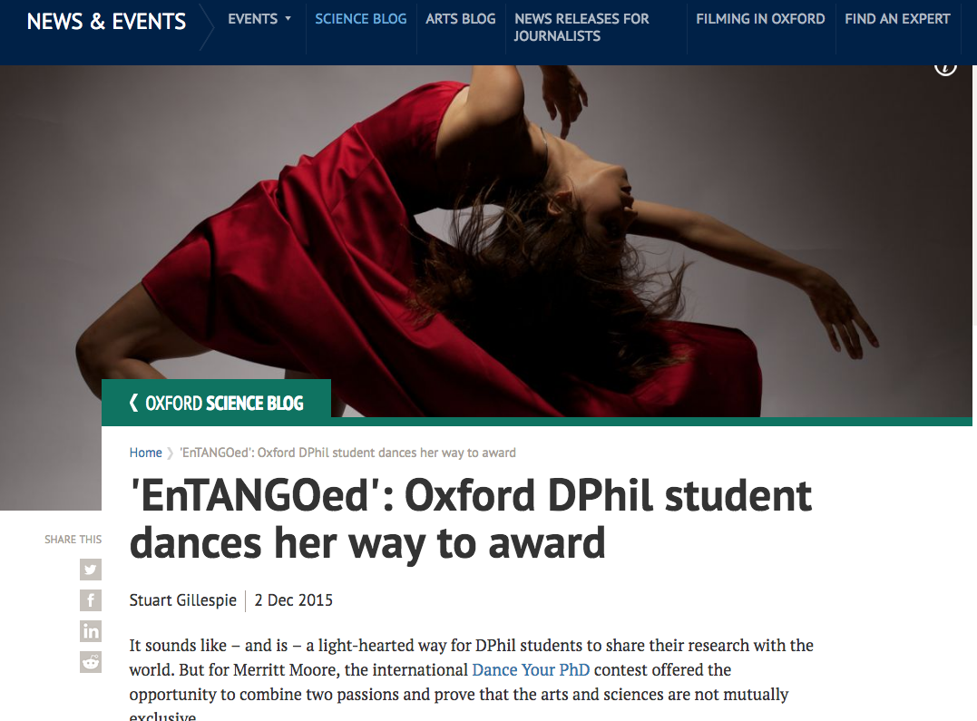 "''for Merritt Moore, the international Dance Your PhD contest offered the opportunity to combine two passions and prove that the arts and sciences are not mutually exclusive..""."