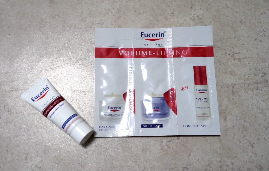 Eucerin Anti-Age Volume-Lifting Sample Pack: 7ml night cream tube, 1.5ml day care cream, 1.5ml night care cream, 1.5ml concentrate