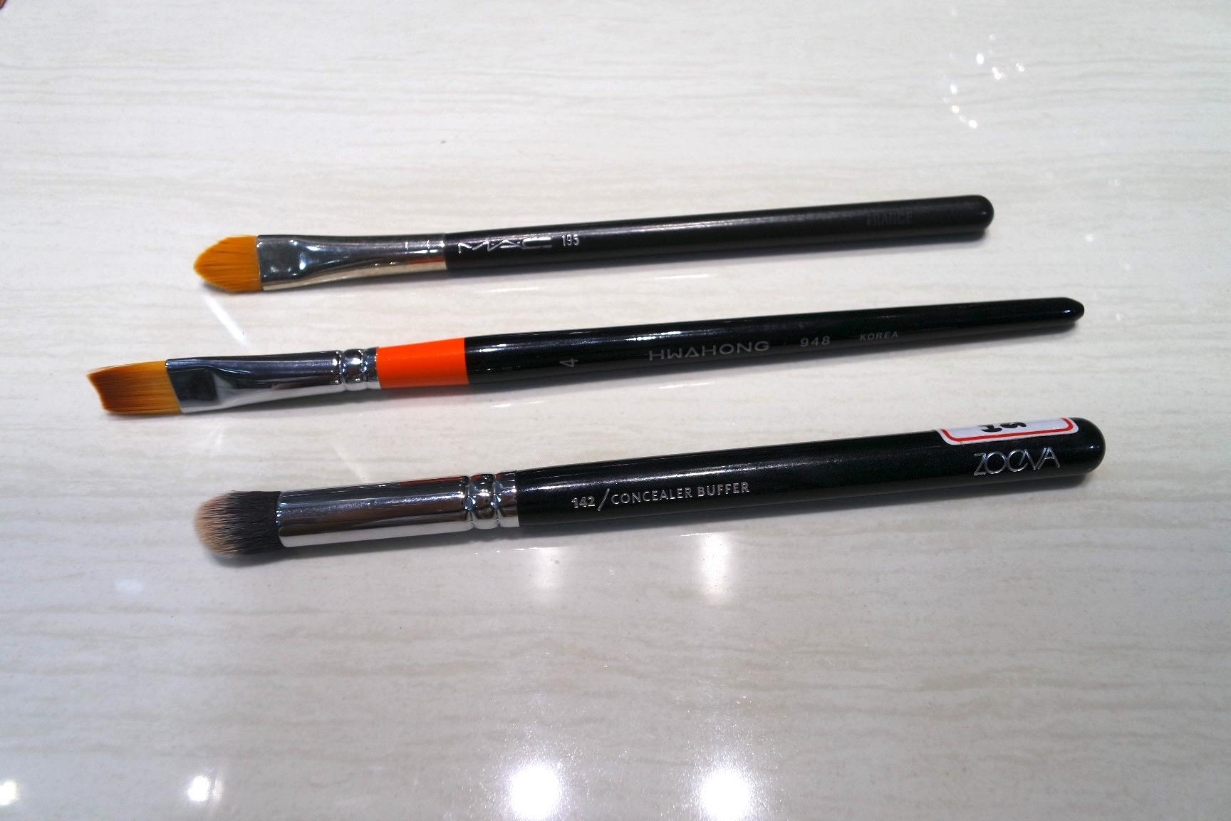Concealer brush showdown (T-B): MAC 195, Acrylic Paint Brush, Zoeva 143