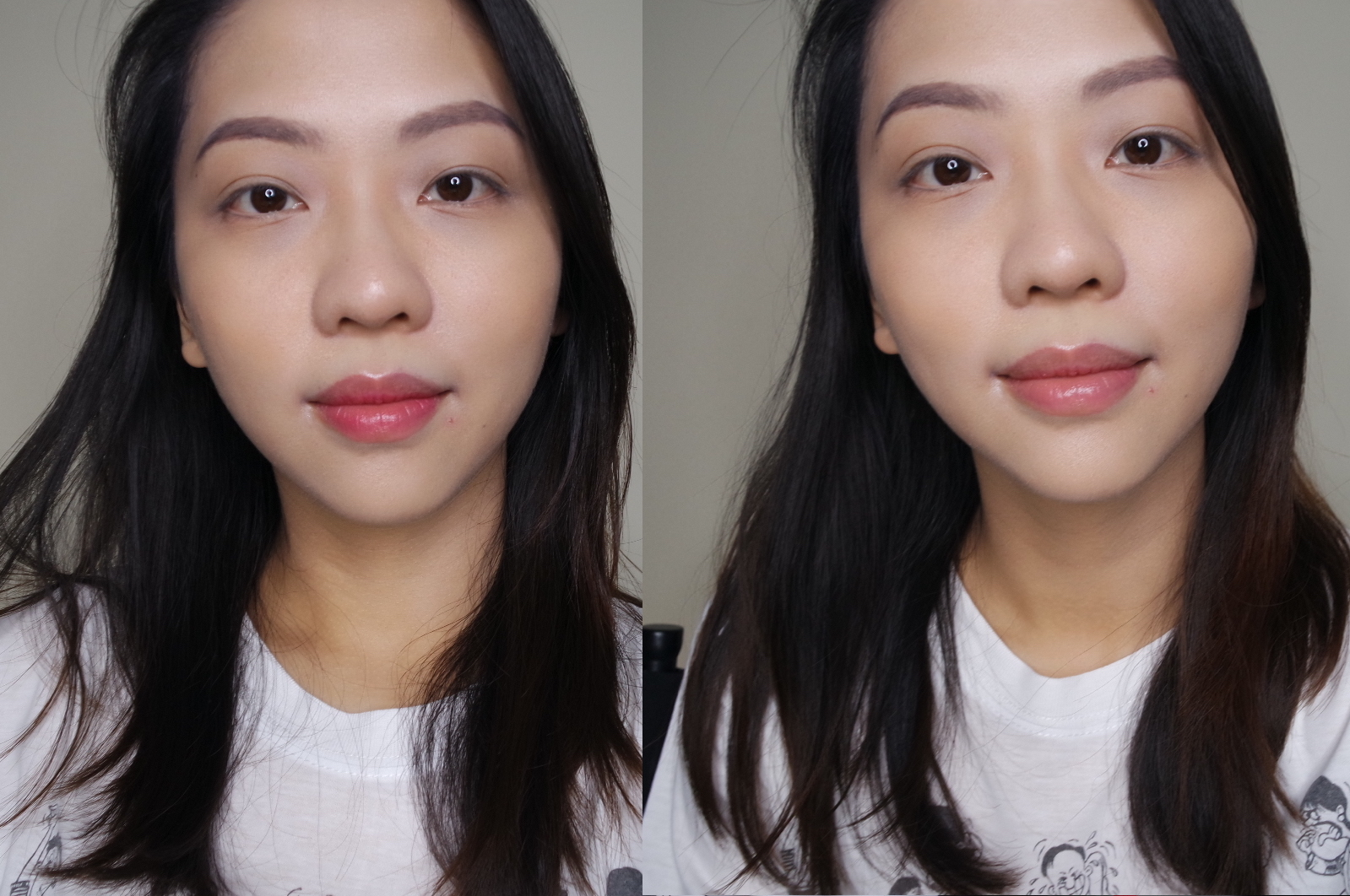 Kanebo Keep Wearing Rouge in 03 Vibrant Red L-R: normal application, 5-hour (meal-less) fade