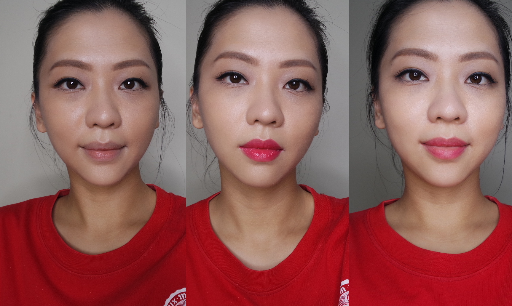 Kanebo Keep Wearing Rouge in 03 Vibrant Red Acid Test: L-R bare lip, heavy-handed application, post-pizza status
