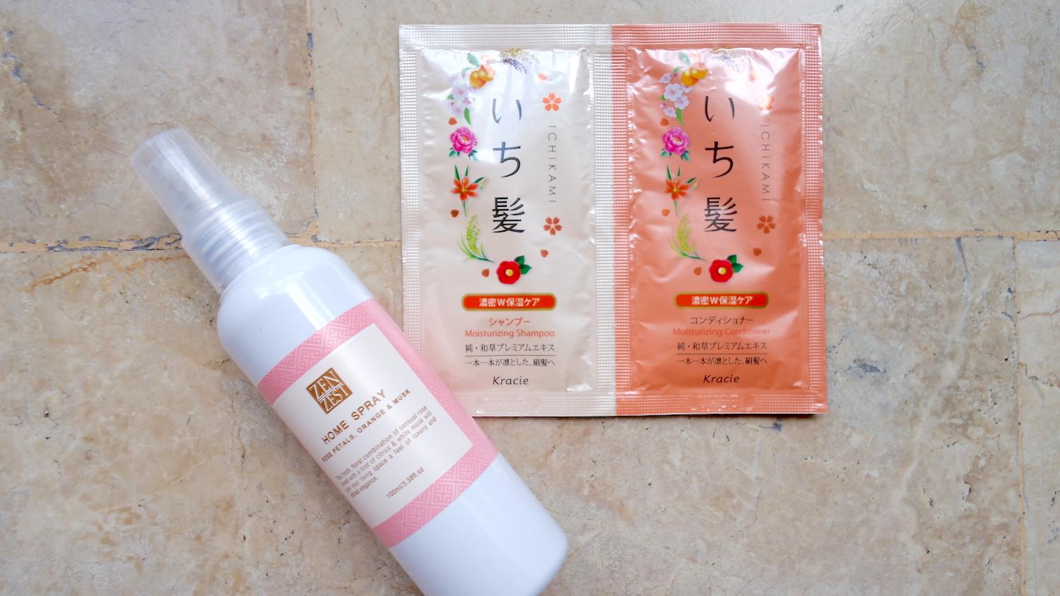 Zen Zest Home Spray in Rose Petals, Orange and Mash, PHP 150 / 100ml,   Kracie Ichikami Shampoo and Conditioner Sachet Set, PHP 80 / 10ml each