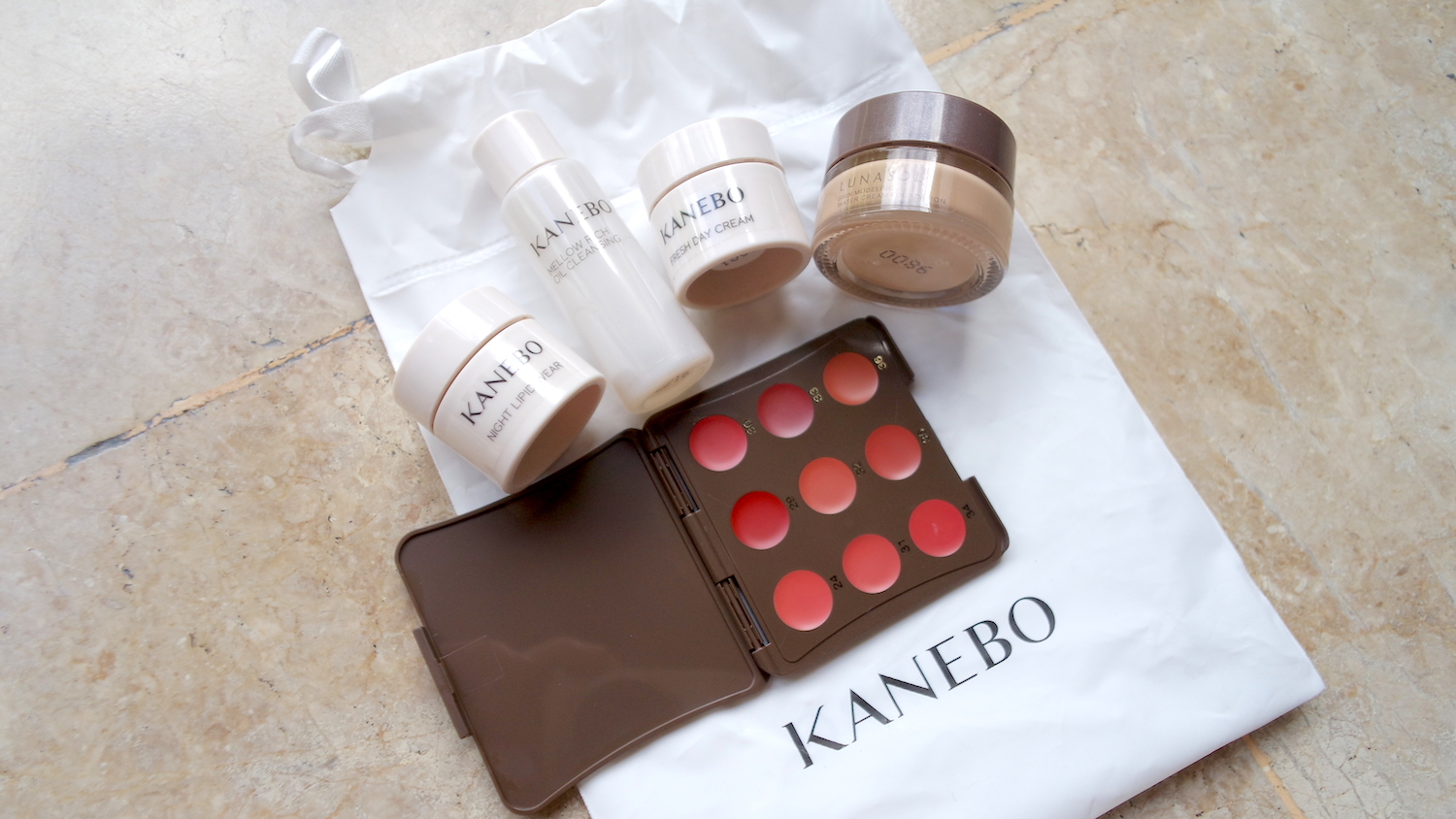 Kanebo and Lunasol Glow Kit, PHP 700 / 9g water cream foundation, lip sample palette, 10ml cleanser, 2.8ml day cream, 2.8ml night lipid wear