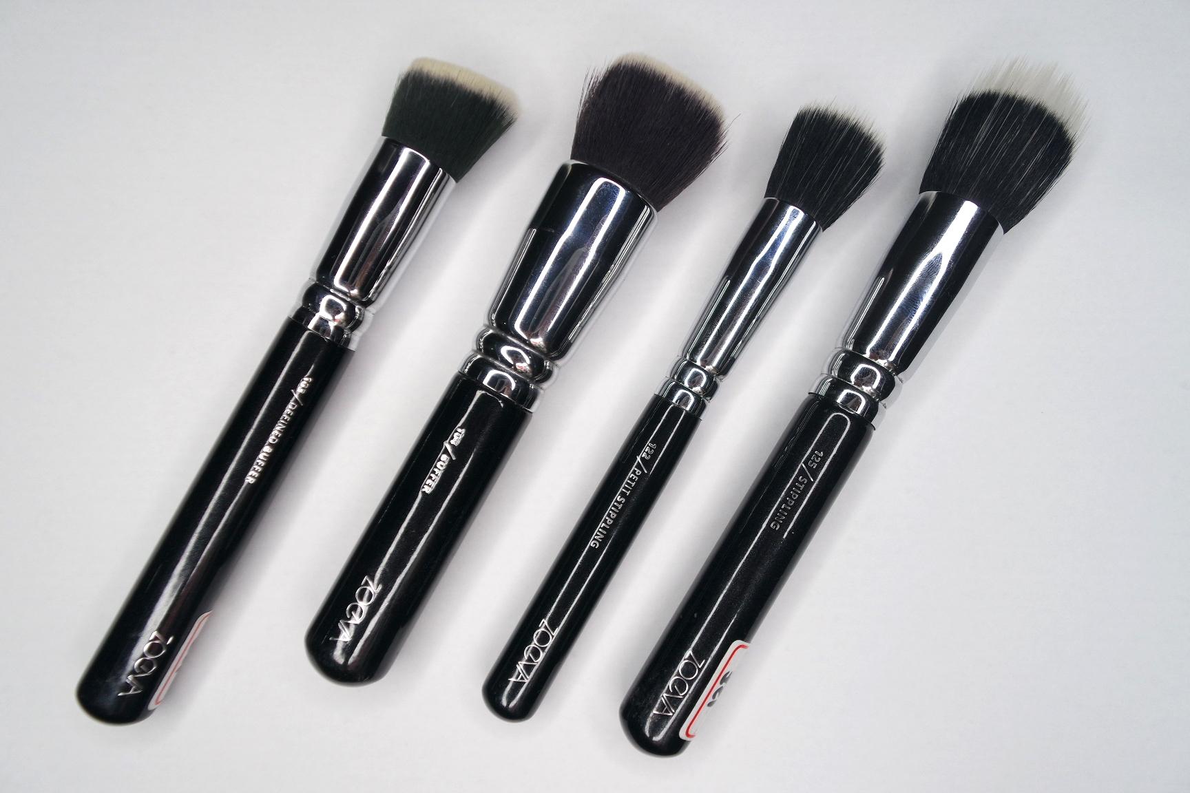 zoeva 103 defined buffer, 104 buffer, 122 petit stippling brush, 125 stippling brush