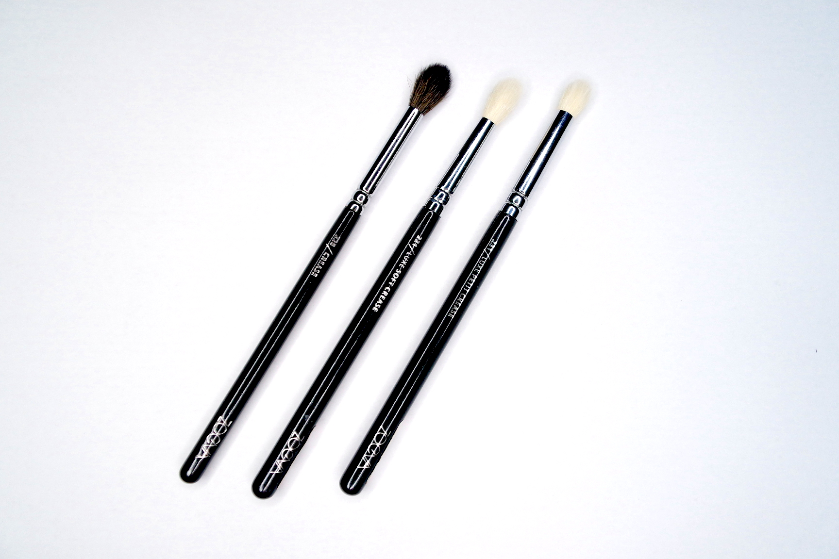 zoeva 228 luxe crease brush, 221 luxe soft crease brush, 231 luxe petit crease brush