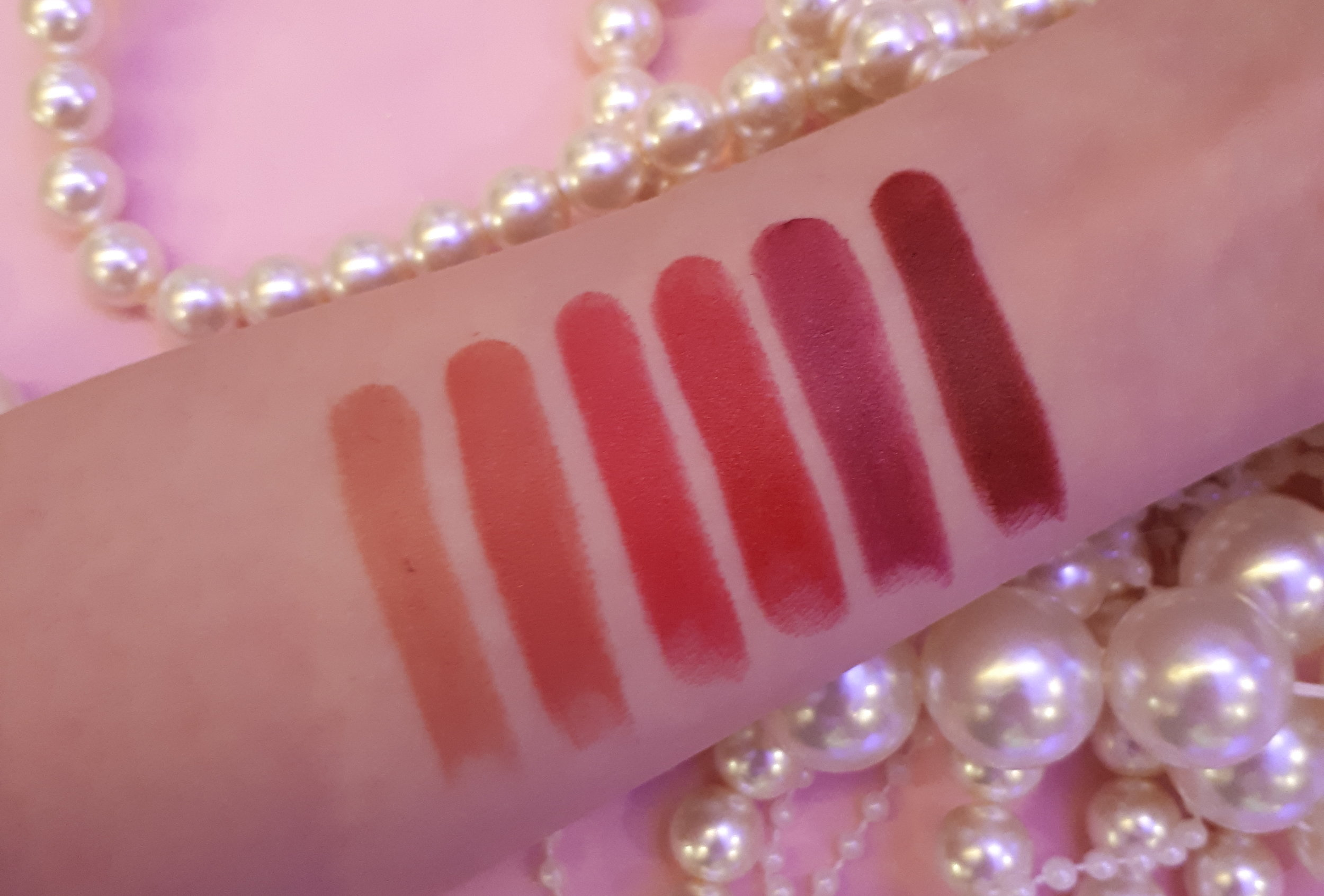 Kanebo Intense Crayon Rouge swatched: 01 Natural Beige, 02 Chic Pink, 03 Vibrant Fuschia, 04 Impact Red, 05 Sophisticated Wine, 06 Stylish Bordeaux