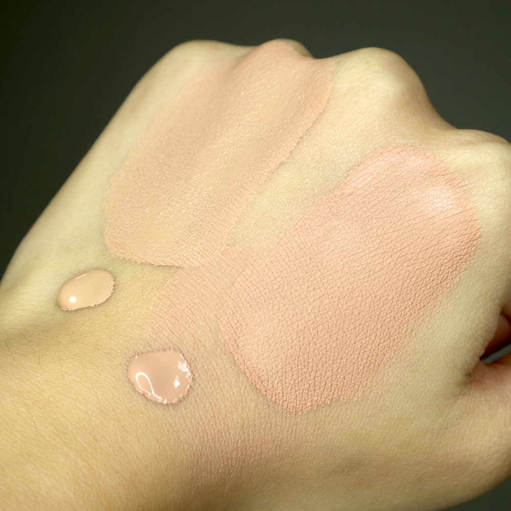 T-B: Kate Powderless Liquid in OC-C vs. Kate Powdery Skin Maker in 02, after 2 minutes