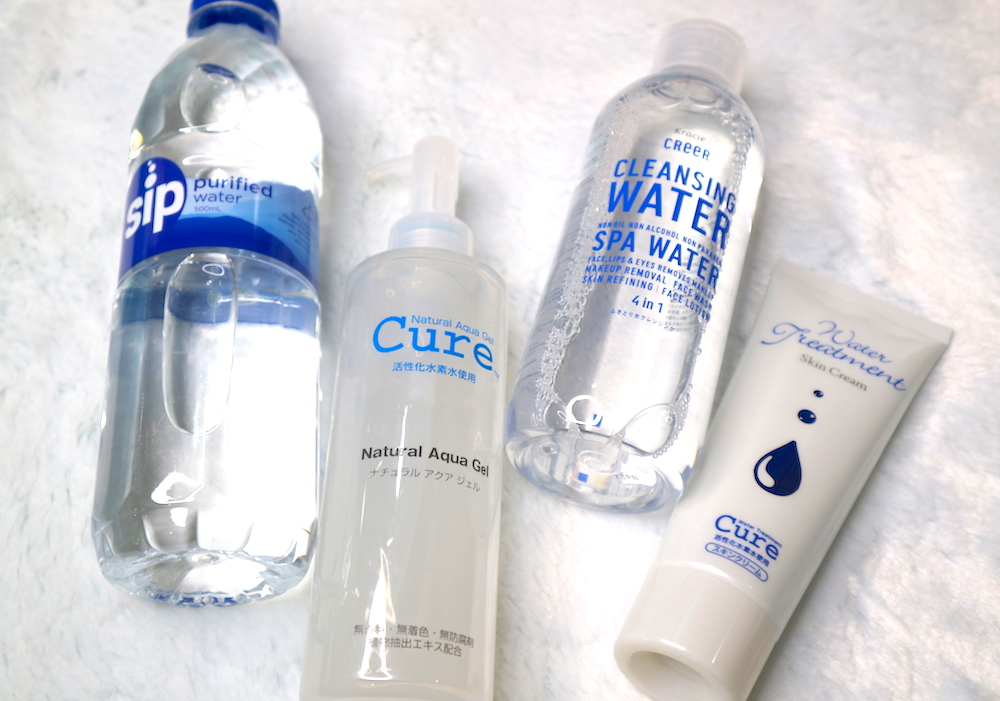 sip purified water, cure natural aqua gel, creer cleansing water, cure water treatment skin cream