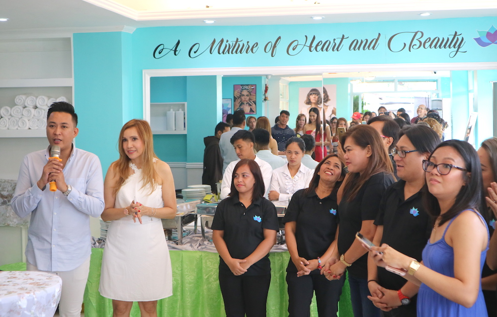 Jim Ryan Ros, makeup artist to beauty queens, opens Marinka Salon with Ms. Juvette Yuvienco, co-owner, and the Marinka Team.