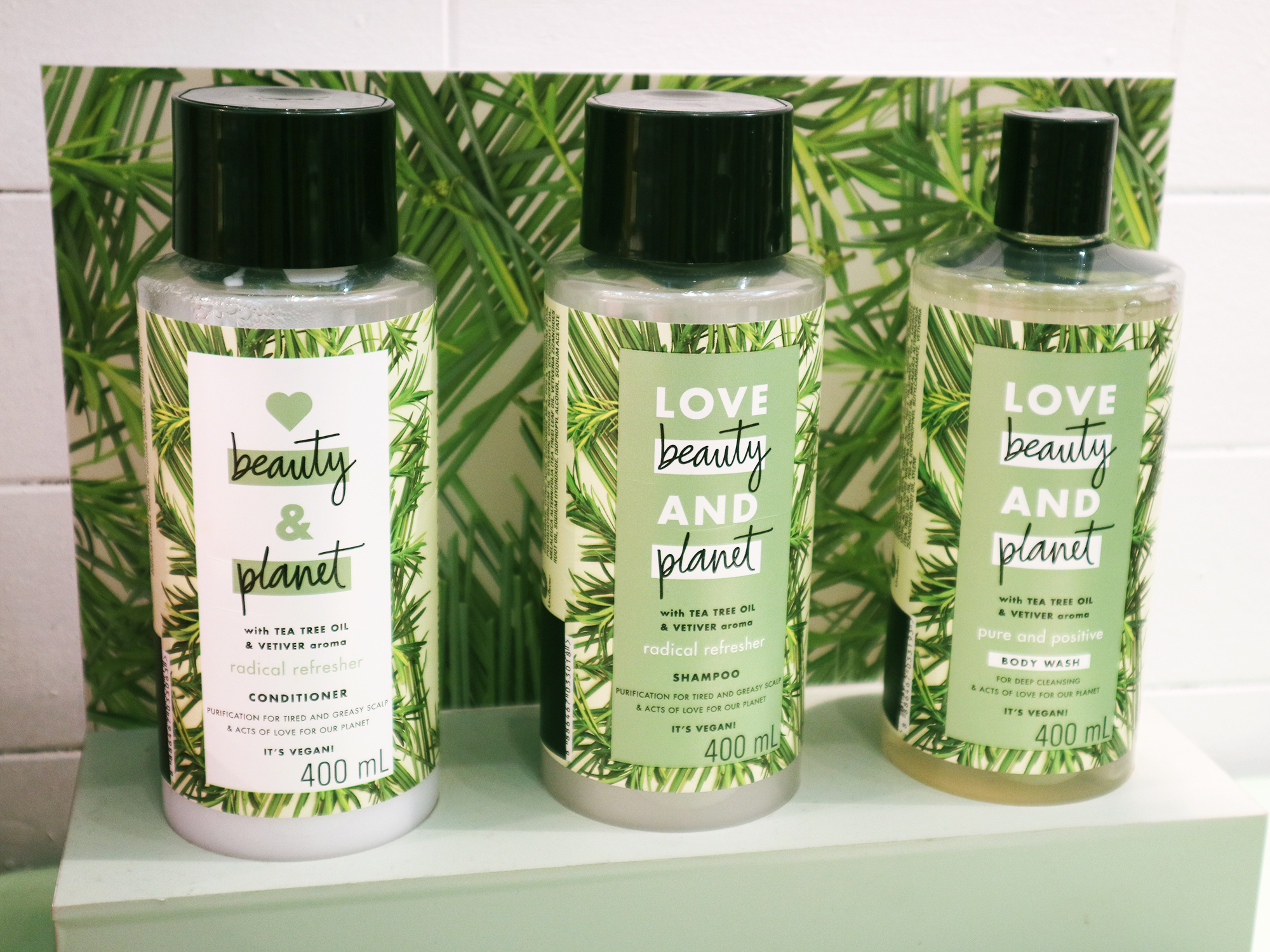 love beauty and planet tea tree oil vetiver collection shampoo conditioner body wash