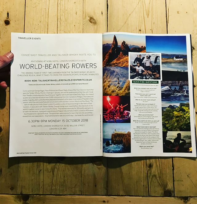 Check out this months @condenasttraveller magazine for information about an event at @nobuhotelshoreditch where we will be talking honestly about our Atlantic row and the highs and lows entailed in breaking the world record for the fastest crossing. . 6.30pm - 9pm Monday 15th October 2018. . Check out the link in our bio to purchase tickets ☝️. . ⭐️ Includes delicious @talisker whisky cocktails ⭐️ . All proceeds go to @mindcharity and @spinalresearch .  Look forward to seeing you then!