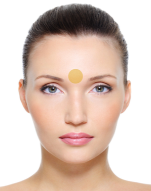 """BETWEEN THE EYEBROWS   The area between your eyebrows, also known as the """"third eye,"""" is said to be connected to your stomach and liver. Poor digestion and toxic buildup may lead to blemishes in this area.  Try an elimination diet to rule out any allergies or intolerances and consider a gentle cleanse. Reducing caffeine, alcohol, and sugar can also improve digestive health."""