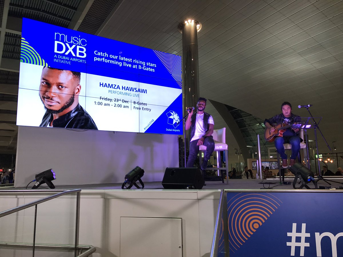 X Factor Arabia winner Hamza Hawsawi wowed passengers at Dubai International with his own musicDXB show in December 2016
