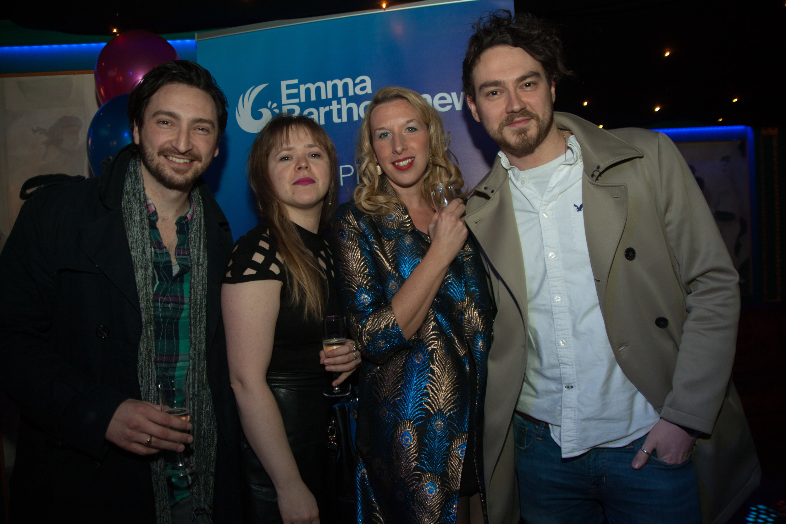 Founders of the Unsigned Music Awards with music blogger, Dovile Mal & host Emma Bartholomew at the EBPR Party