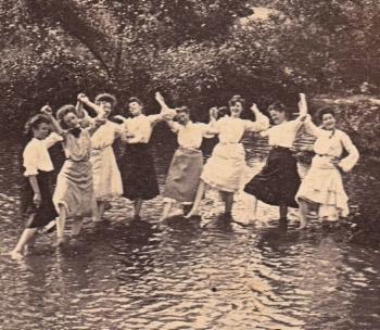 Vintage photo - ladies cavorting in pond