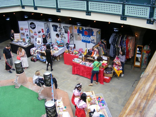 Looking down from the upper level at the stalls below