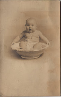 Vintage photo - baby in bowl