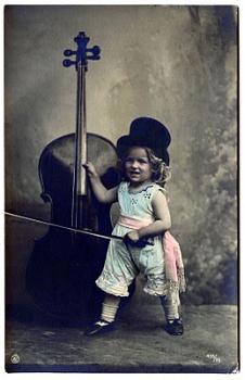 Vintage photo - little girl with cello