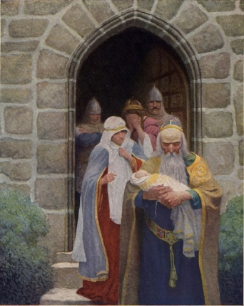 'Merlin taking away the infant Arthur'