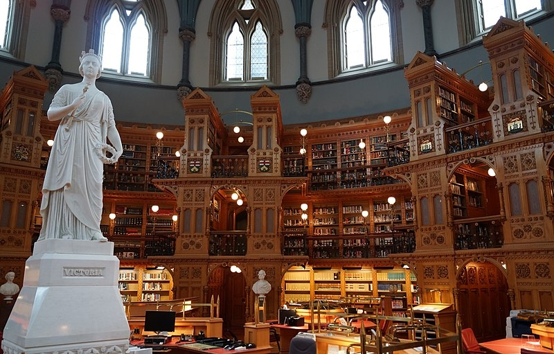 Canada's Library of Parliament, main reading room (photo credit: DavidWEnstrom, Wikipedia user)