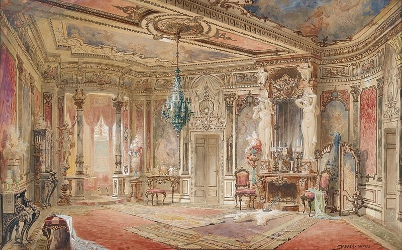 Great Chamber - 'Salon in Makartstil' by Georg Janny (wikipedia) - 'Makartstil' referred to Janny's aesthetic of painting in brilliant colours and fluid forms.