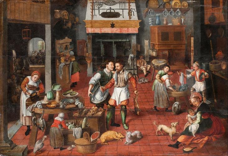 'Kitchen Interior' ~ Marten van Cleve, circa 1565