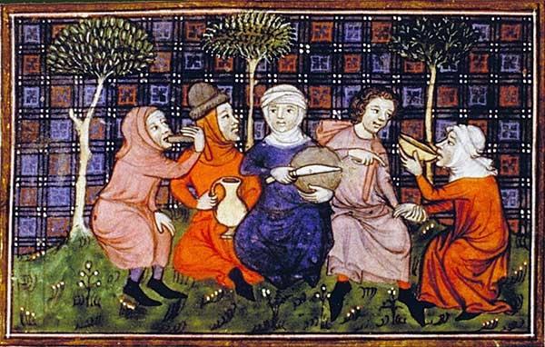 'Peasants breaking bread, Bibliotheque Nationale' (Wikipedia)
