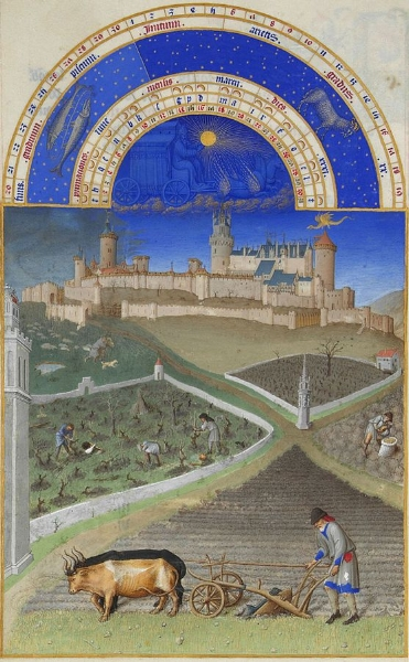 Ploughing - from a 'Book of Hours' illustrated by the Limbourg Brothers (Wikipedia)