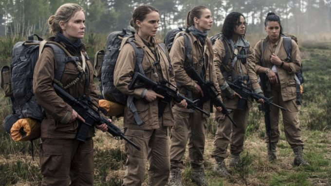 From left to right – Jennifer Jason Leigh as Dr Ventress; Natalie Portman as Lena; Tuva Novotny as Cass Sheppard; Tessa Thompson as Josie Radek; Gina Rodriguez as Anya Thorensen.