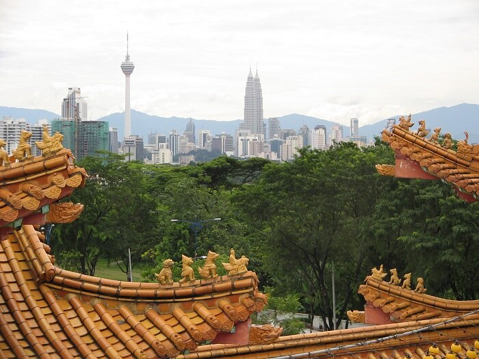 Taken from the upper level of the temple, showing the KL Tower and Petronas Towers in the distance