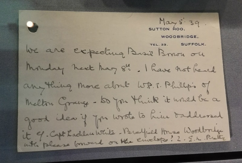 Letter from Mrs Pretty confirming Basil Brown's arrival