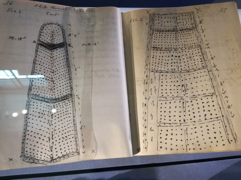 Drawing in Basil Brown's notebook, detailing the position of the rivets and the shape of the ship