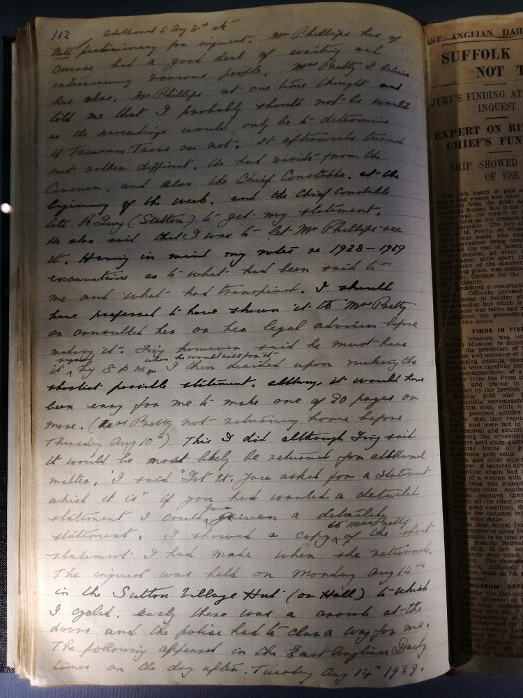 Page from Basil Brown's notebook about the 'treasure trove' inquest