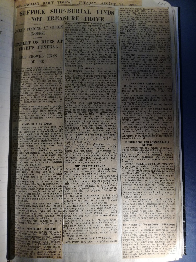 Newspaper article in Basil Brown's notebook about the inquest's finding