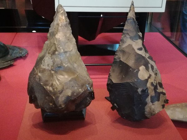"The Gray's Inn Lane hand axe and one of the Hoxne hand axes – the Gray's Inn Lane hand axe ""was found in London with the remains of an elephant."" Both axes are ""now known to date from the Ice Ages around 400,000 years ago."""