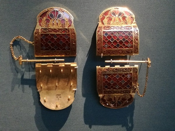 Shoulder clasps from the permanent display of the Sutton Hoo hoard