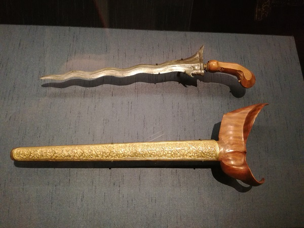 'Kris' - traditional Malay weapon. The detail on the scabbard is exquisite as seen in the next photo.
