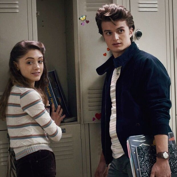 Nancy Wheeler (played by Natalia Dyer) and Steve Harrington (played by Joe Keery)