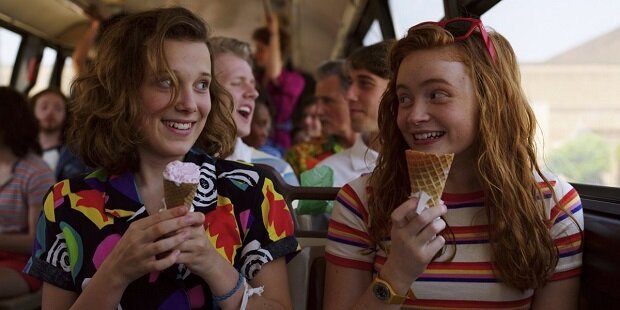 Eleven and Max (played by the wonderfully named Sadie Sink) in Season 3