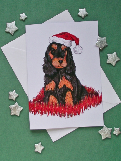 """Cocker Spaniel puppy and tinsel, with glitter - Christmas card - """"Have a Very Happy Christmas"""" inside - Envelope included"""