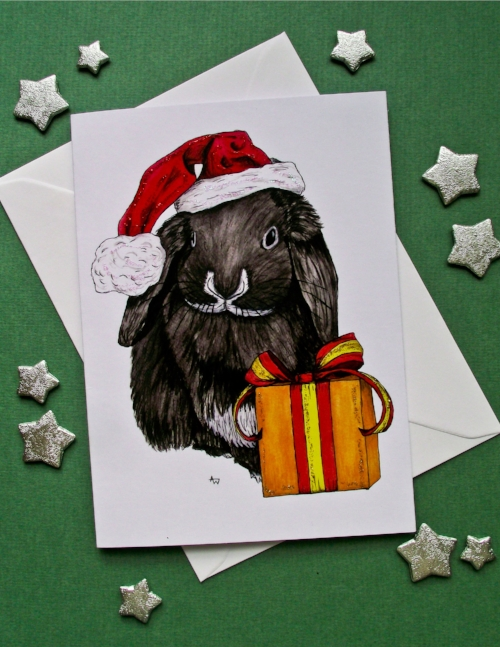"""Rabbit and present, with glitter - Christmas card - """"Have a Very Happy Christmas"""" inside - Envelope included"""